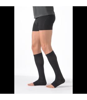 Chaussettes de contention à pied ouvert de la gamme Expert pour hommes. Coloris Noir