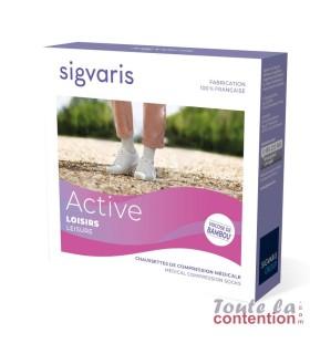 Chaussettes de contention Femme Active Loisirs Bambou classe 2 Sigvaris - Packaging