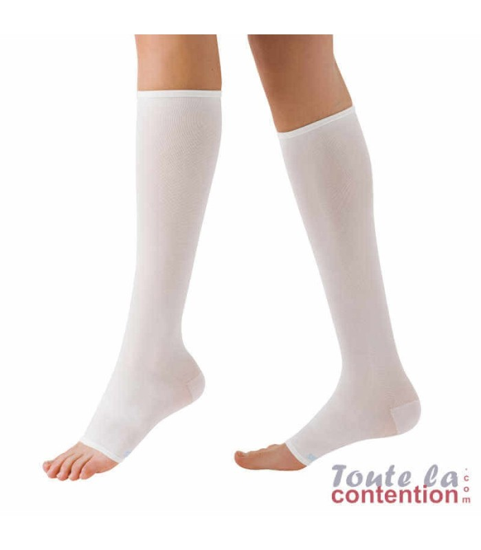 Chaussettes anti-thrombose AT2 par Sigvaris - Pied ouvert - Coloris Blanc