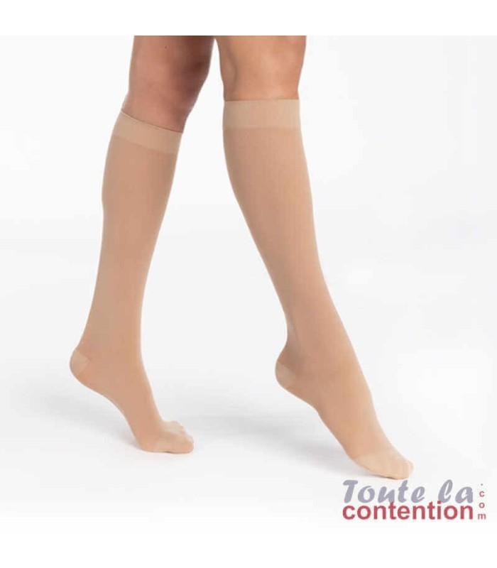 Chaussettes de contention Femme Essentiel Semi-Transparent classe 1 par Sigvaris - Coloris Dune