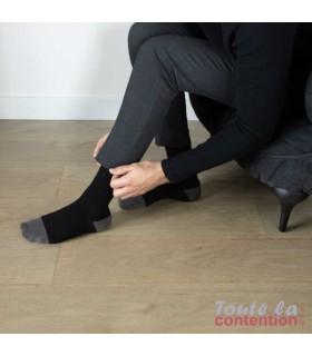 Chaussettes de contention Femme diabétique Diabtx3 Classe 3 par Sigvaris - Coloris Noir - Photo